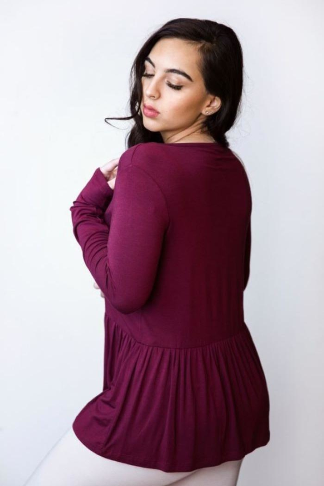 AtoZ Ruched Bottom Top - Front Full Image