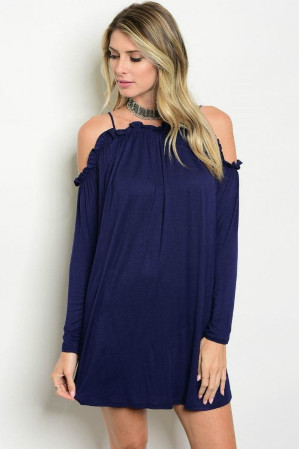 Auditions Blue Ruffle Dress - Front Cropped Image
