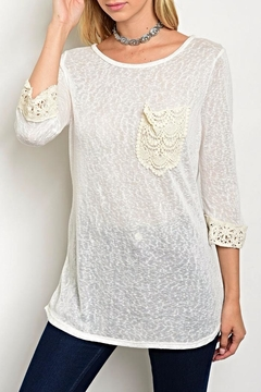 Shoptiques Product: Cream Crochet Quarter Top