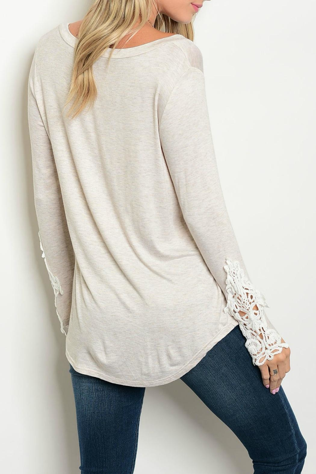 Auditions Crochet Sleeve Tee - Front Full Image