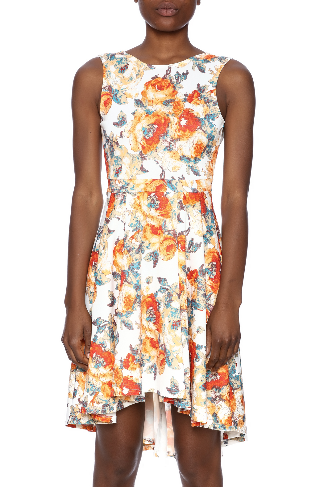 Auditions Floral High-Low Dress - Side Cropped Image