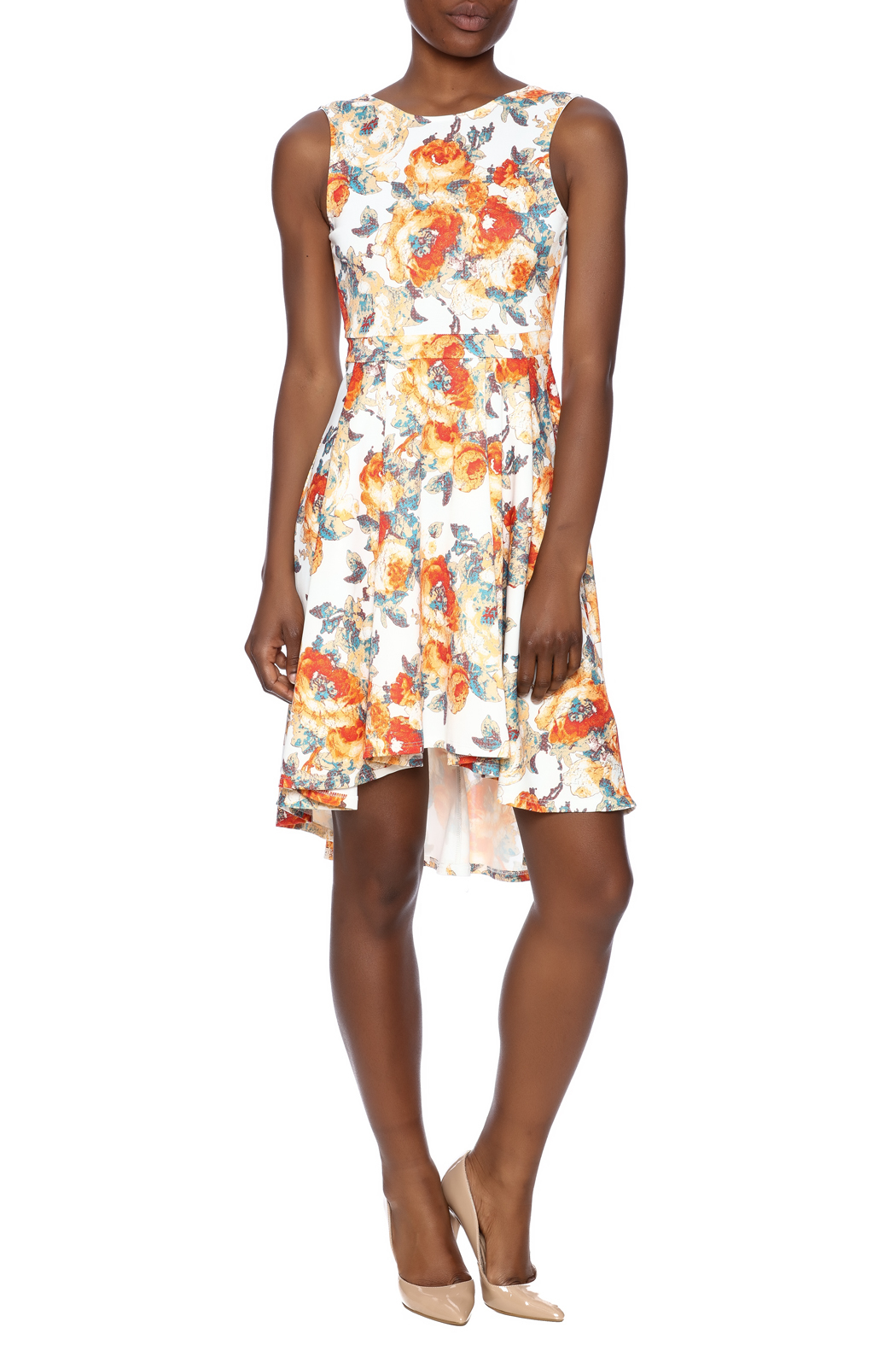Auditions Floral High-Low Dress - Front Full Image