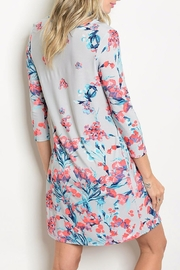 Auditions Gray Floral Dress - Front full body