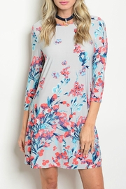 Auditions Gray Floral Dress - Front cropped