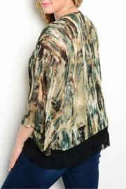 Auditions Green Fringed Kimono - Front full body