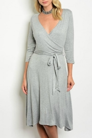 Auditions Grey Wrap Dress - Product Mini Image