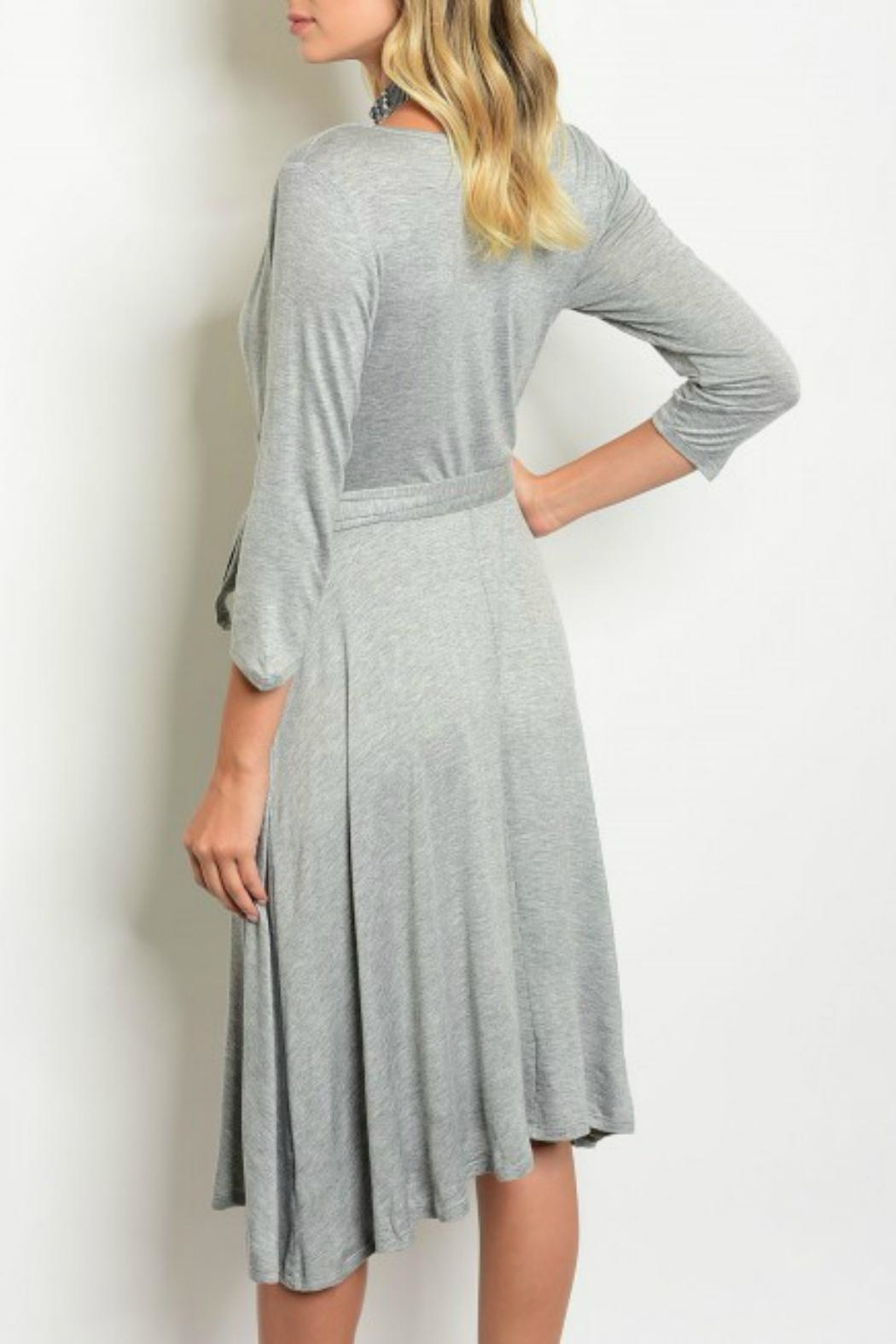 Auditions Grey Wrap Dress - Front Full Image