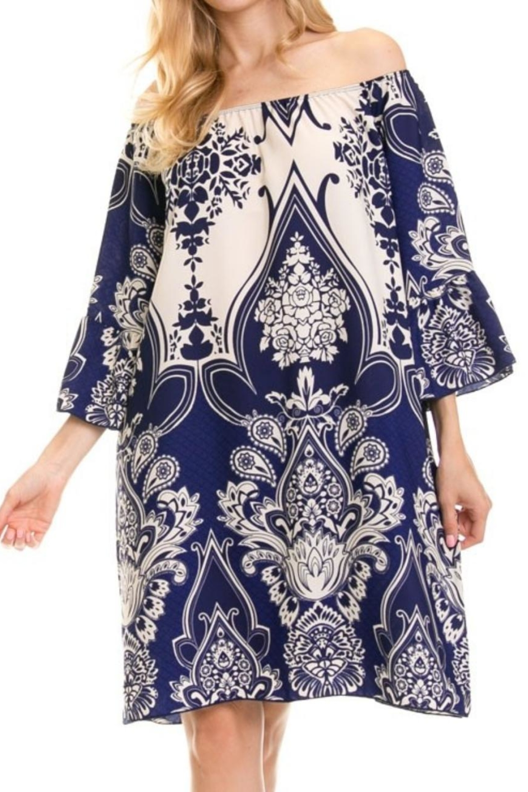 Auditions Paisley Off-Shoulder Tnic - Main Image
