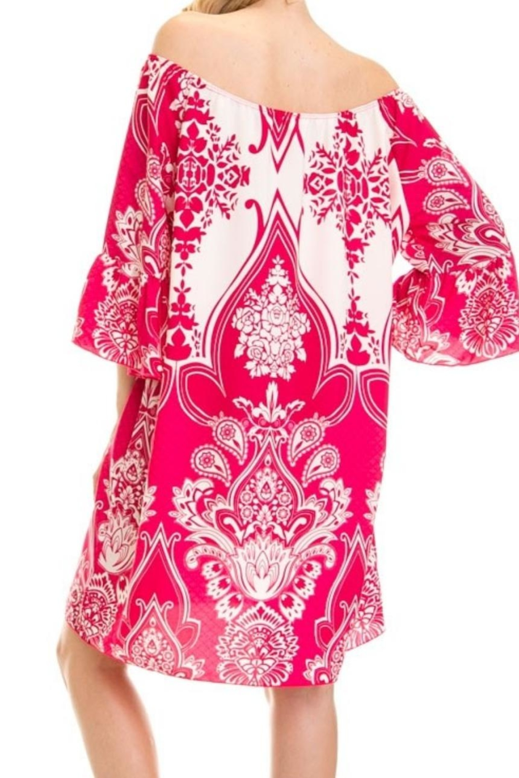 Auditions Paisley Off-Shoulder Tnic - Front Full Image