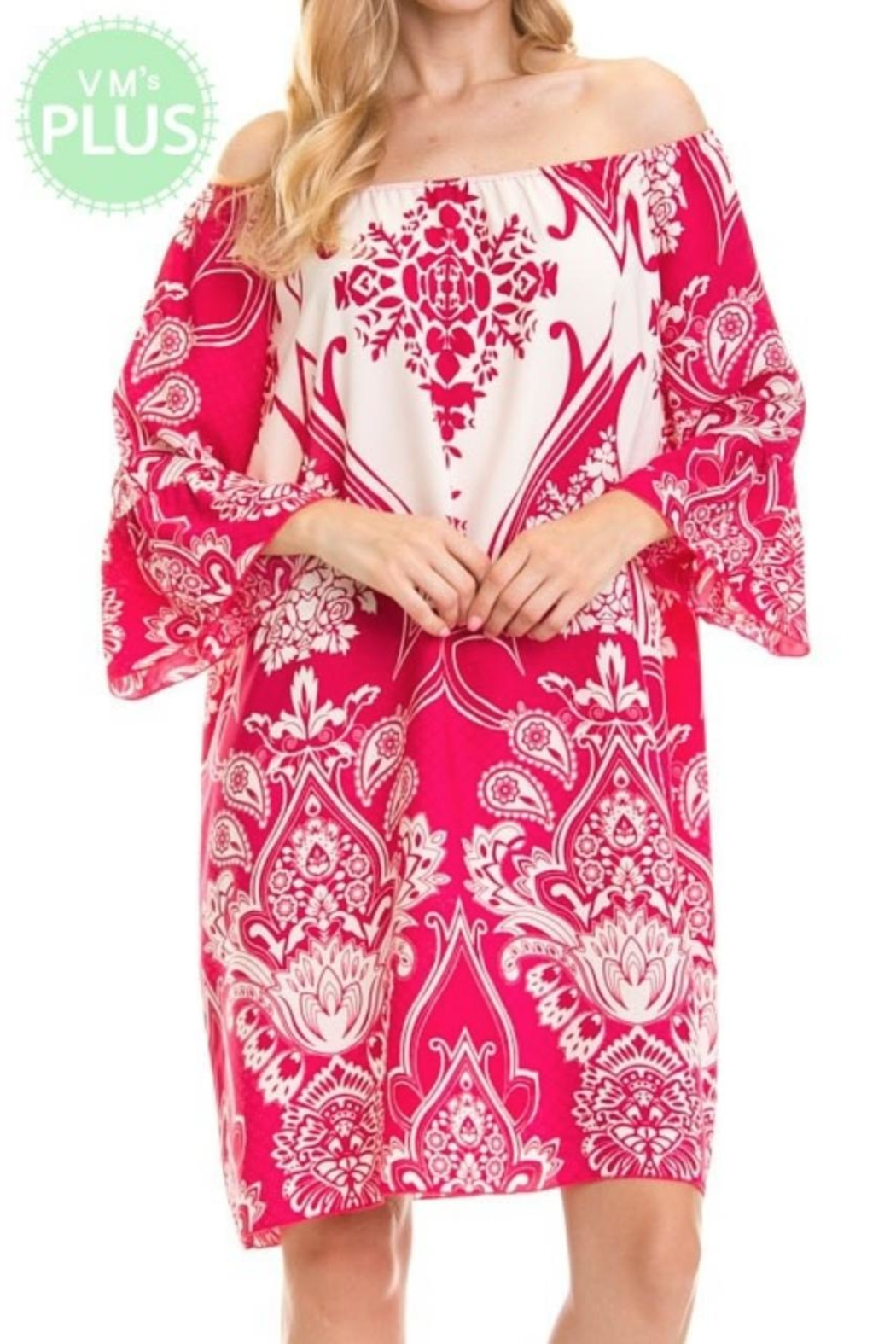 Auditions Paisley Off-Shoulder Tnic - Front Cropped Image