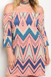 Auditions Pattern Cold-Shoulder Dress - Front cropped