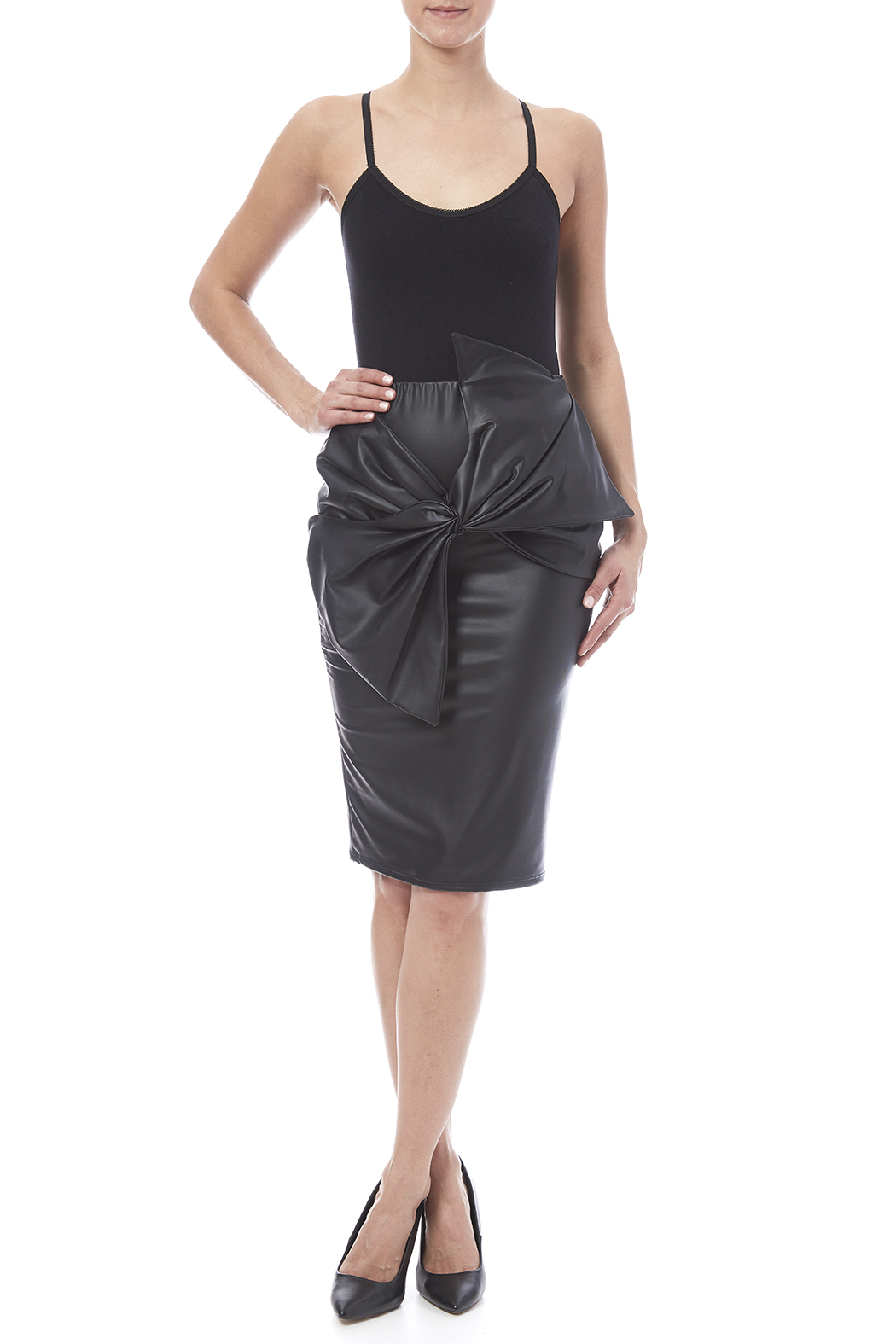 Auditions Faux Leather Pencil Skirt - Front Full Image