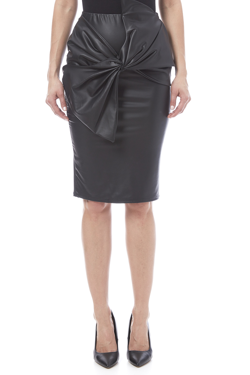 Auditions Faux Leather Pencil Skirt - Side Cropped Image