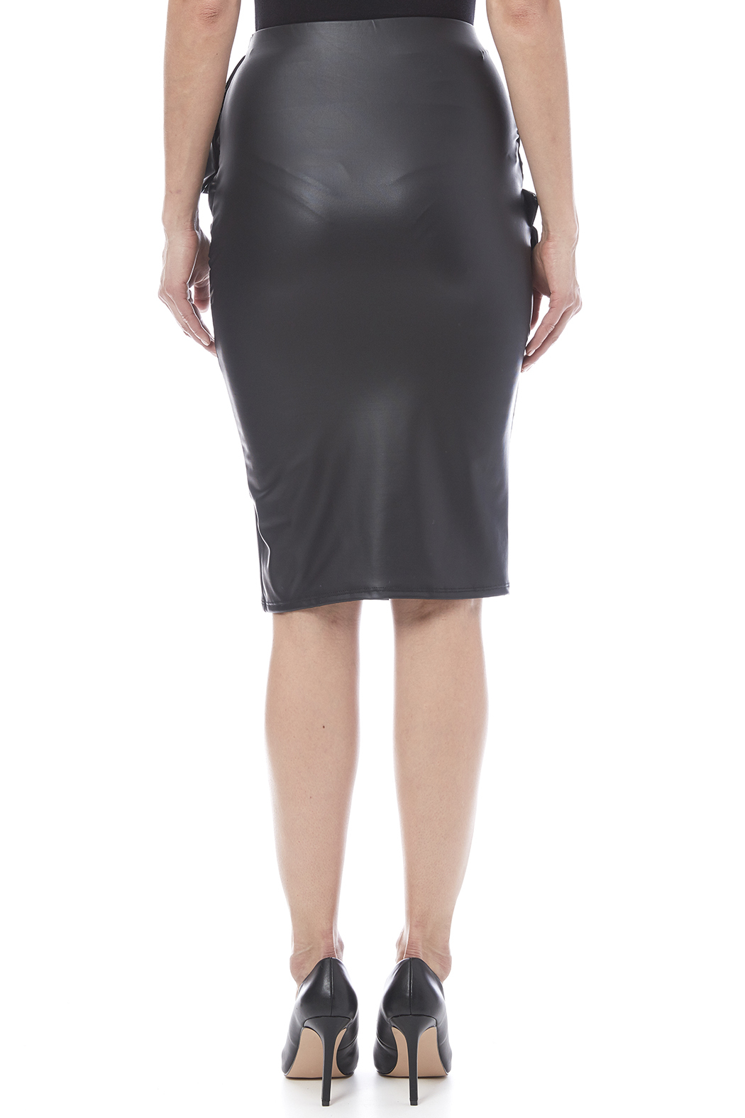 Auditions Faux Leather Pencil Skirt - Back Cropped Image