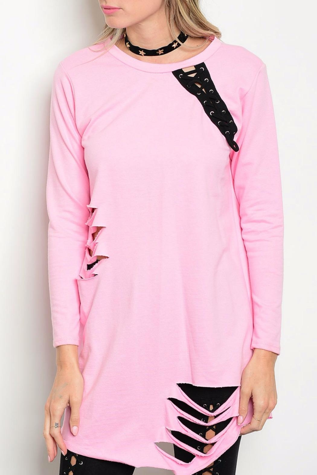 Auditions Pink Distressed Top - Main Image