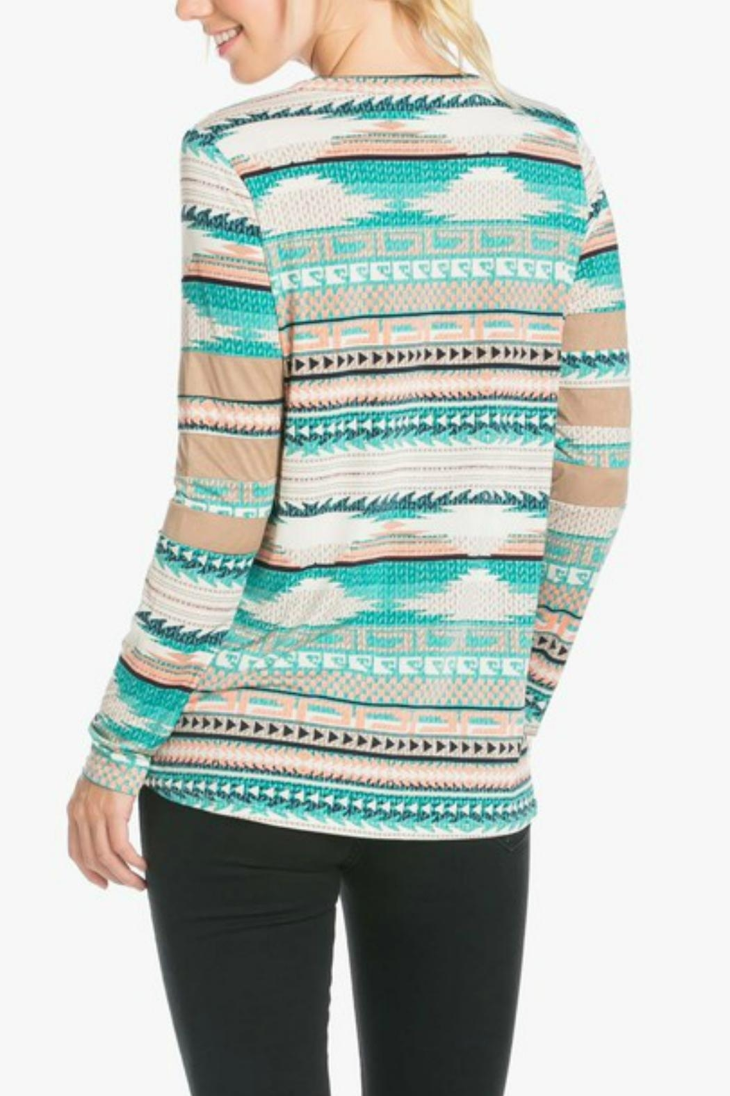 Auditions Tribal Print Top - Front Full Image