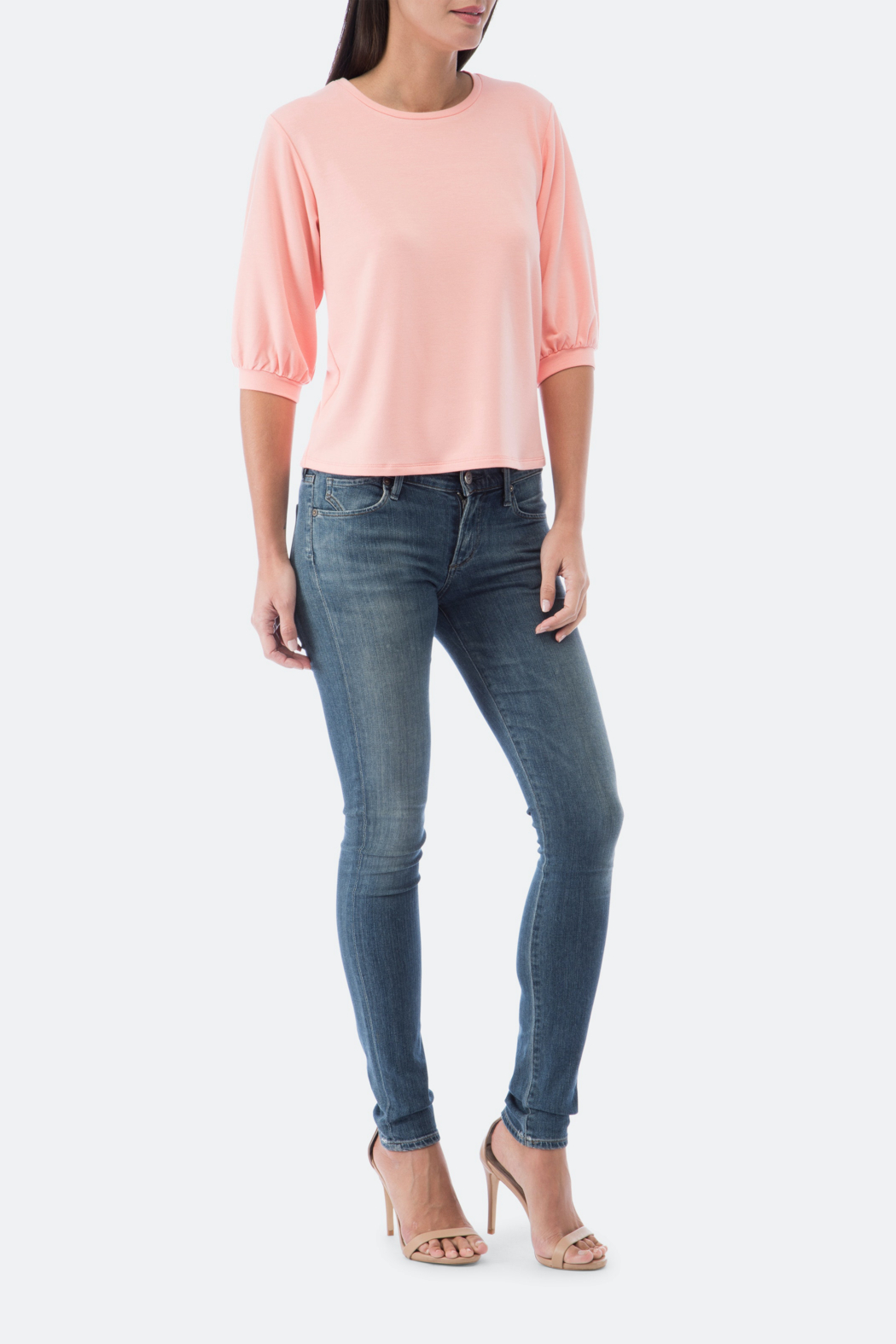 Bobeau Audre Puff Sleeve French Terry Top - Front Full Image