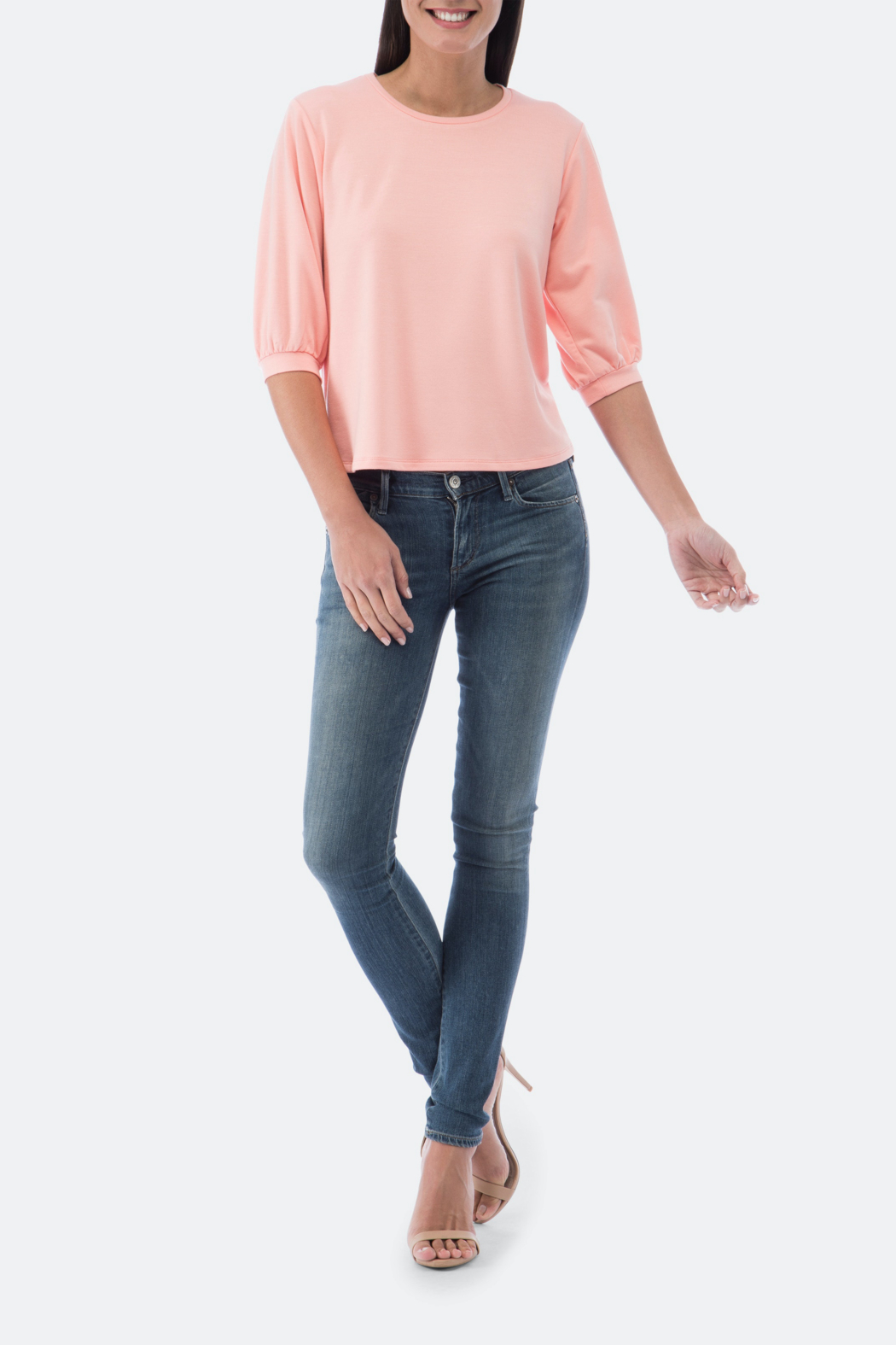 Bobeau Audre Puff Sleeve French Terry Top - Main Image