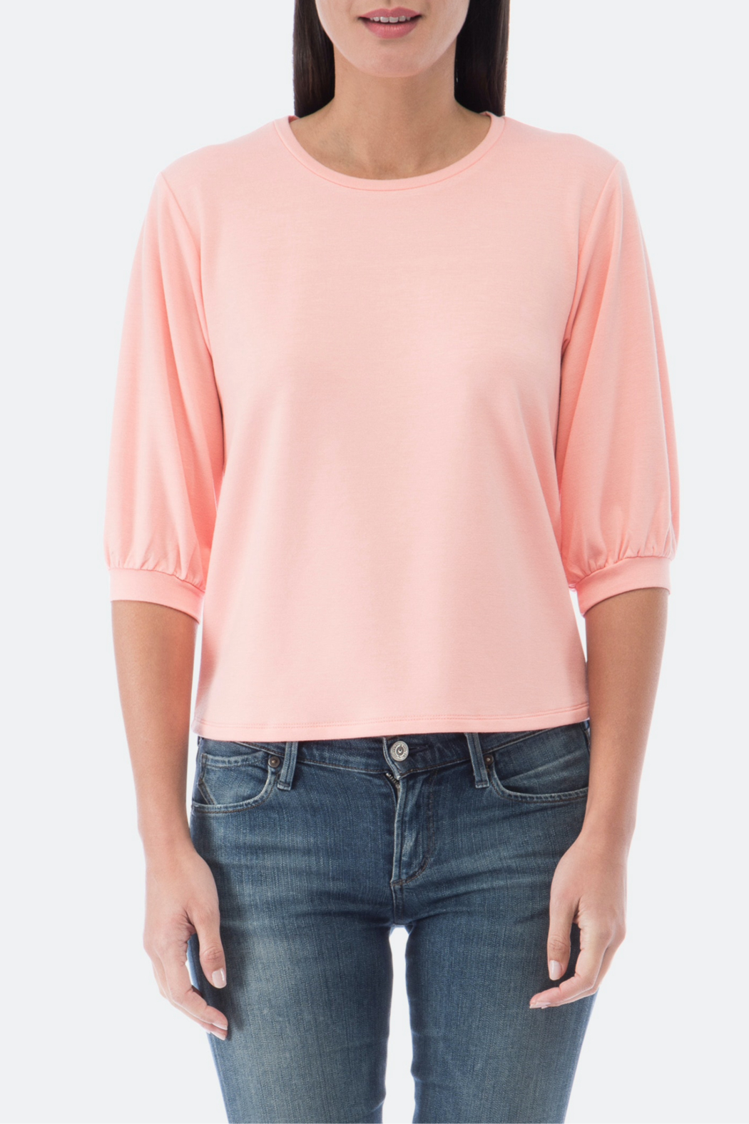 Bobeau Audre Puff Sleeve French Terry Top - Back Cropped Image