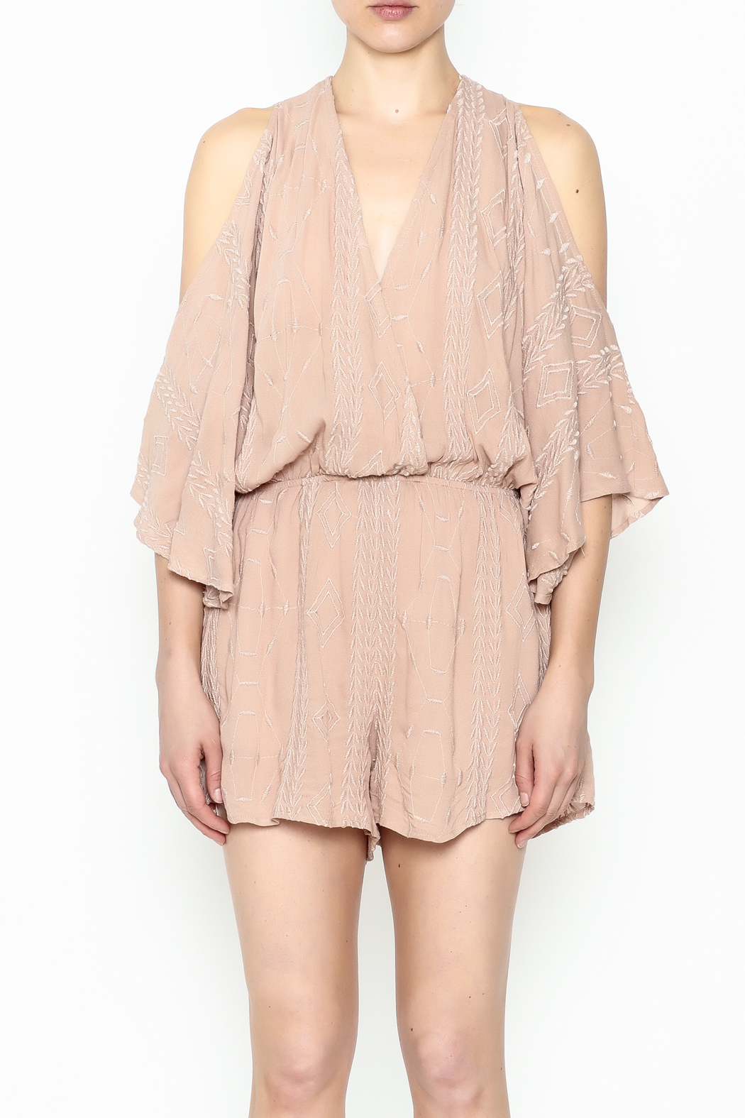 Audrey 3+1 Blush Embroidered Romper - Front Full Image