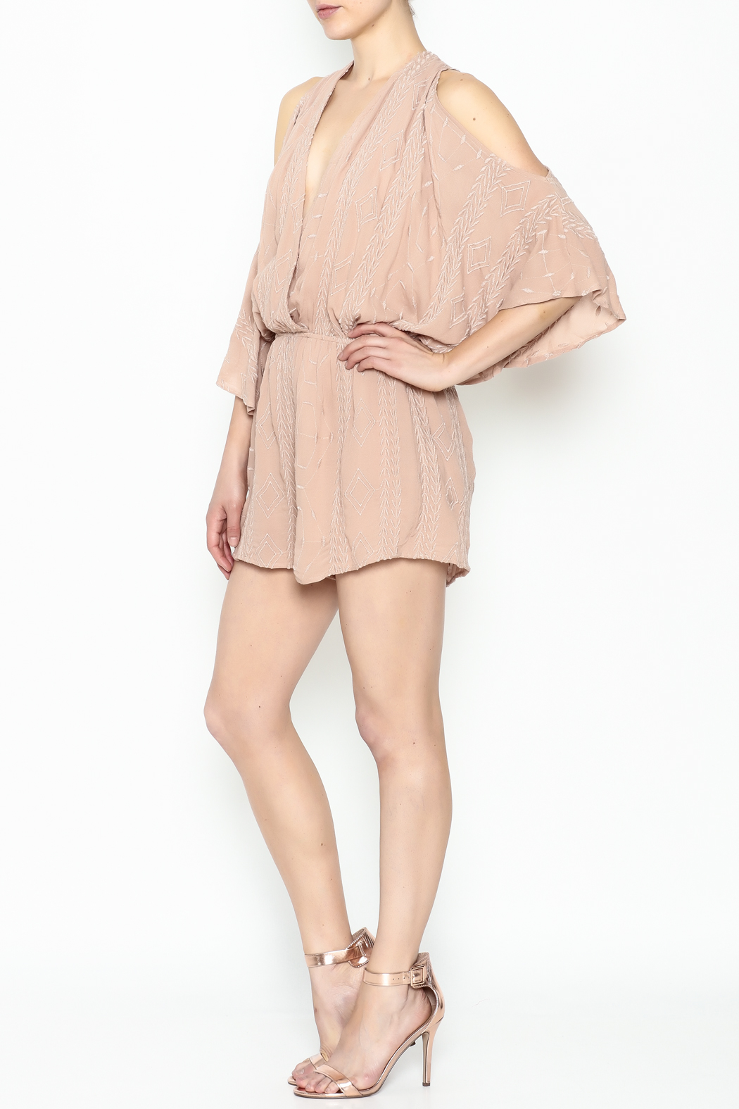 Audrey 3+1 Blush Embroidered Romper - Side Cropped Image