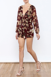 Shoptiques Product: Burgundy Floral Romper - Front full body