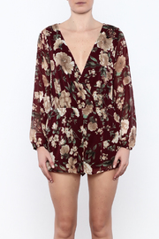 Shoptiques Product: Burgundy Floral Romper - Side cropped