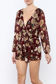 Shoptiques Product: Burgundy Floral Romper - Front cropped