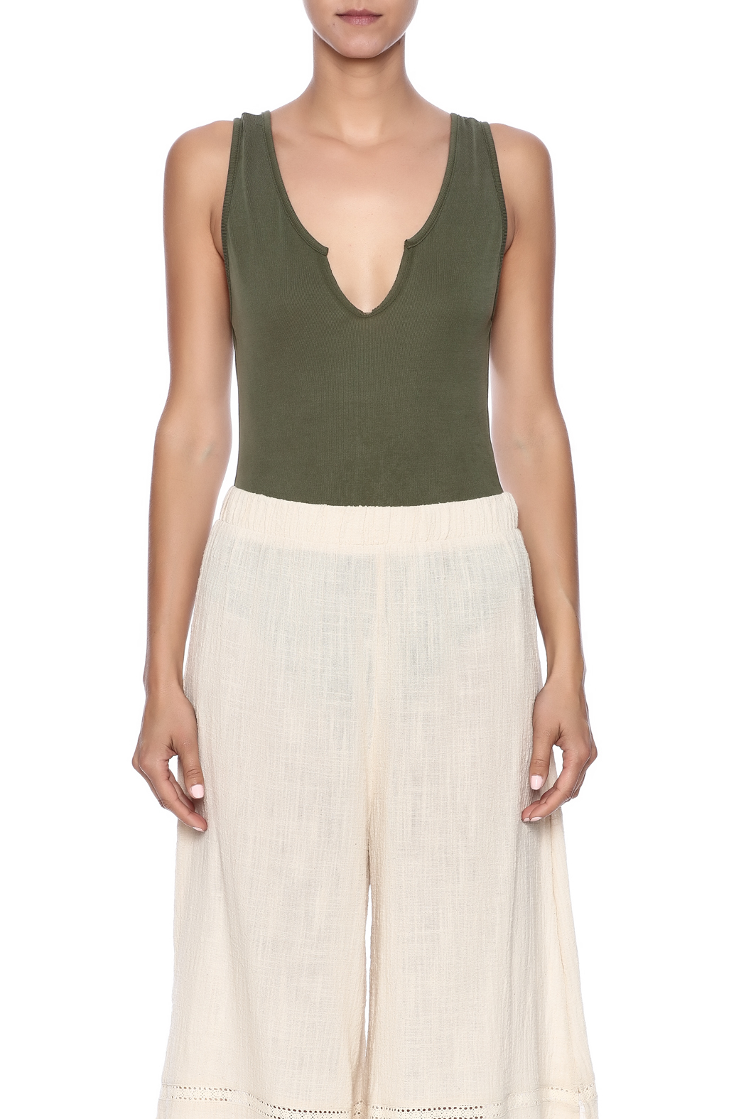 Audrey 3+1 Plunge Neck Bodysuit - Side Cropped Image