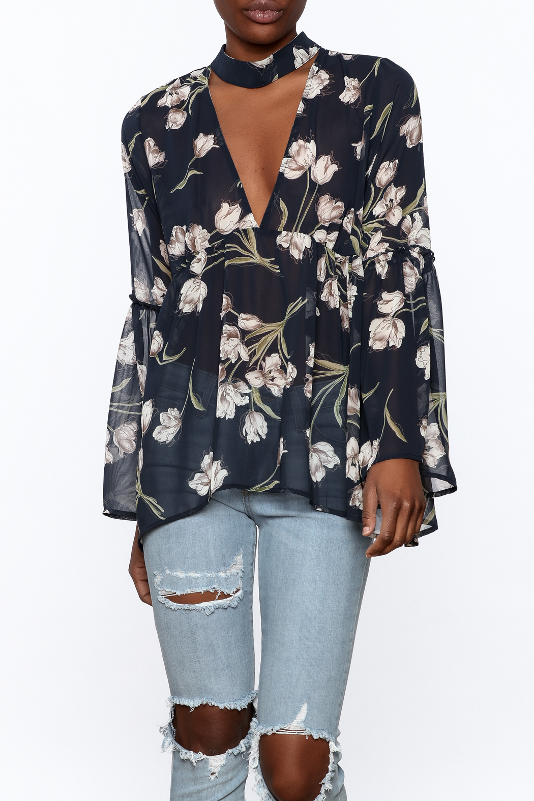 Audrey Sheer Navy Floral Blouse - Front Cropped Image