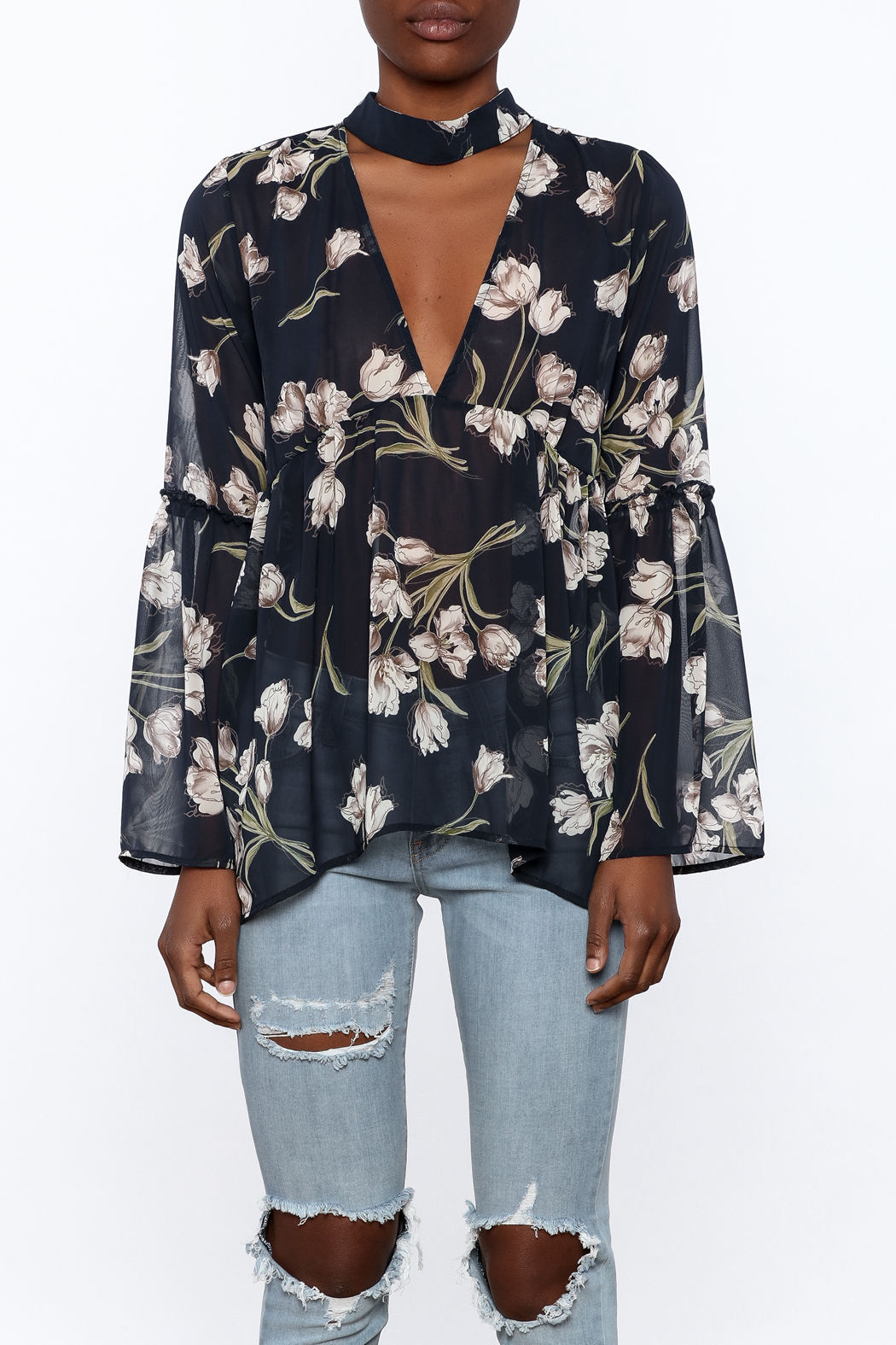 Audrey Sheer Navy Floral Blouse - Side Cropped Image