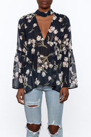 Audrey Sheer Navy Floral Blouse - Side cropped