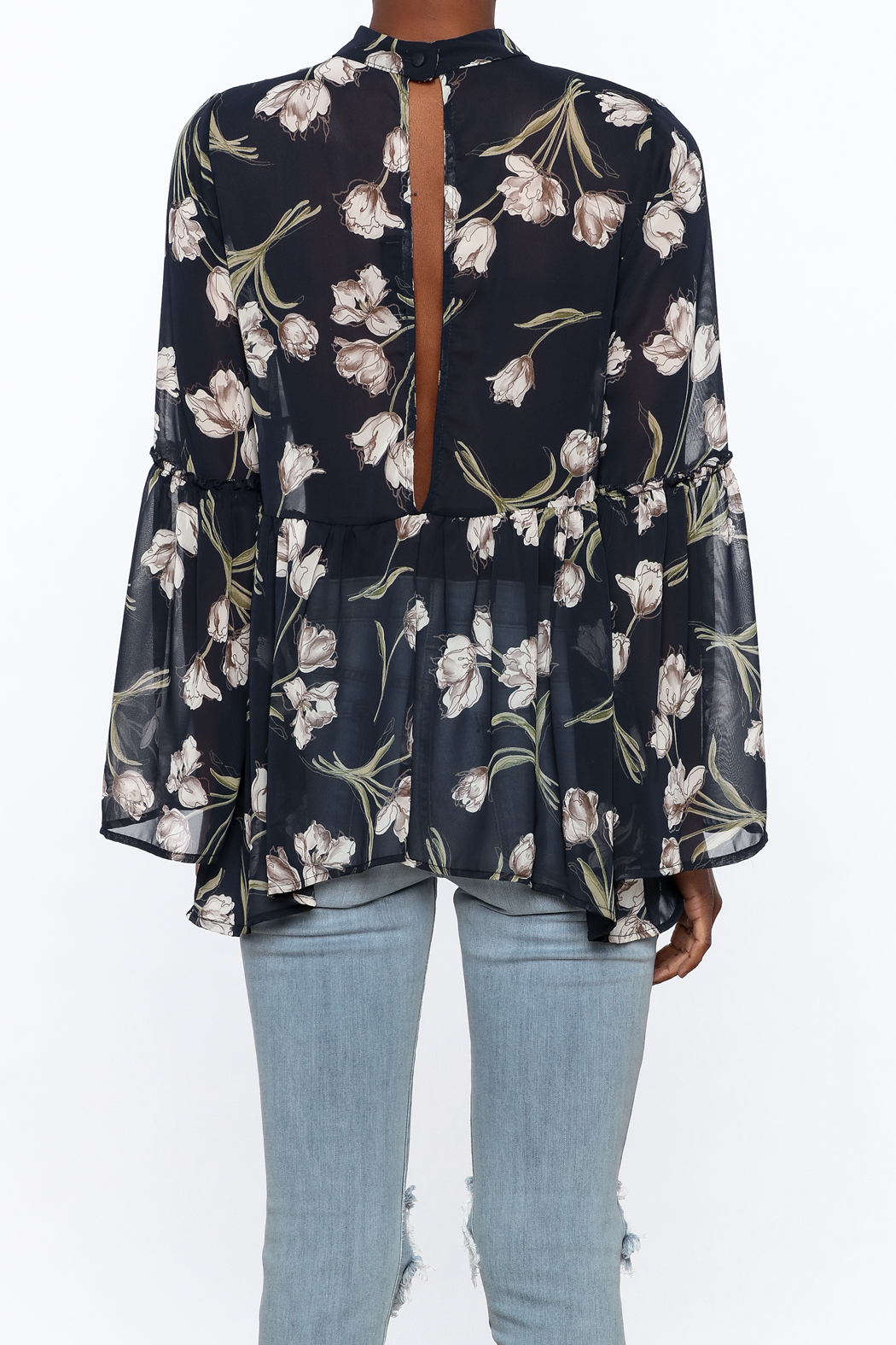 Audrey Sheer Navy Floral Blouse - Back Cropped Image