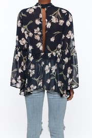 Audrey Sheer Navy Floral Blouse - Back cropped