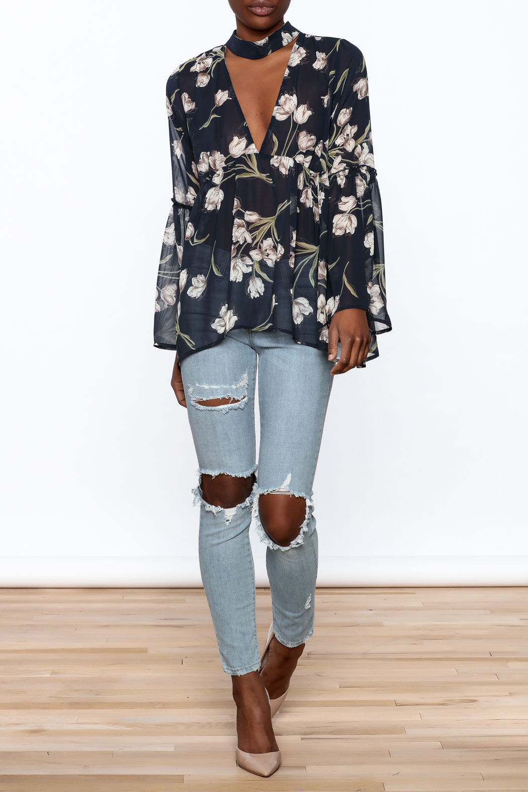 Audrey Sheer Navy Floral Blouse - Front Full Image