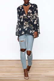 Audrey Sheer Navy Floral Blouse - Front full body