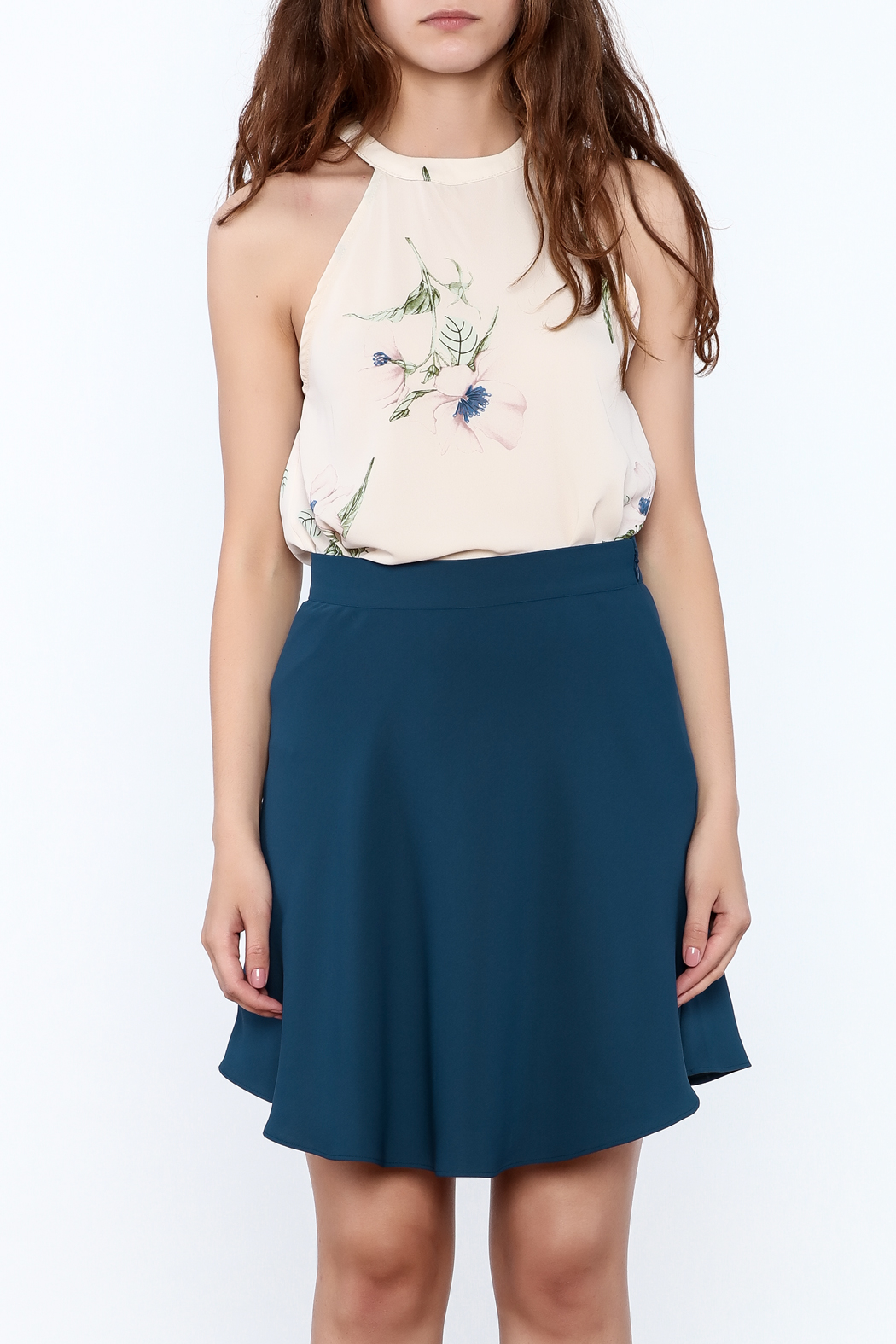 Audrey Beige Floral Printed Top - Front Cropped Image