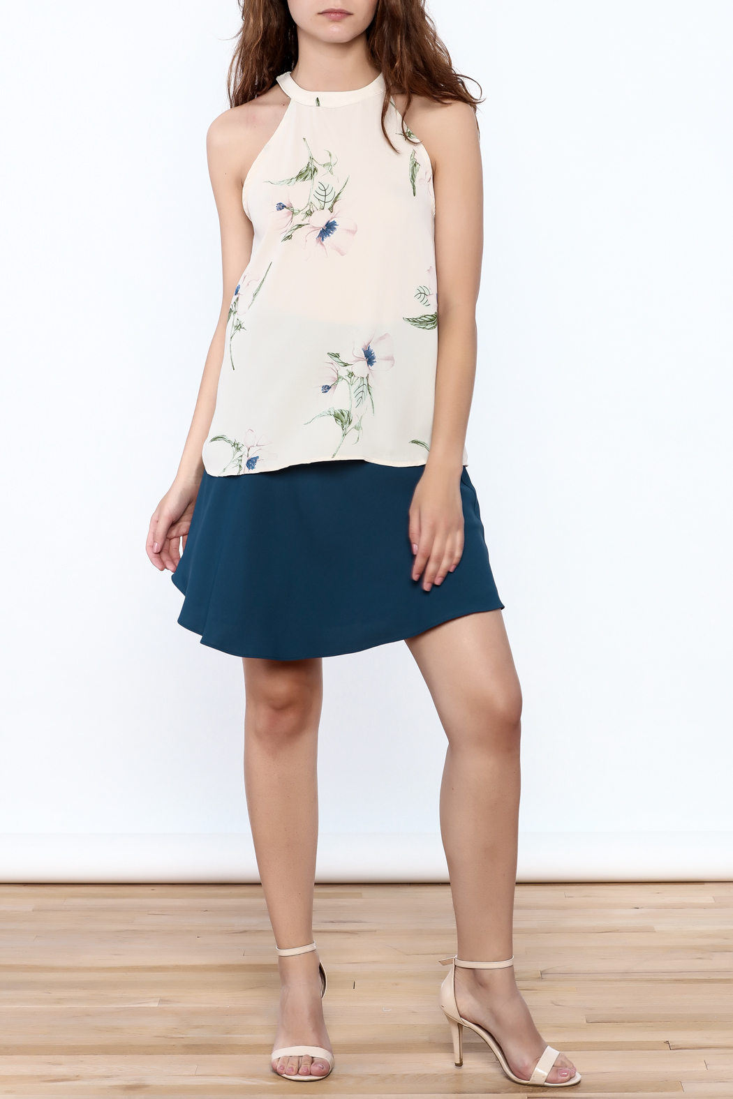 Audrey Beige Floral Printed Top - Front Full Image