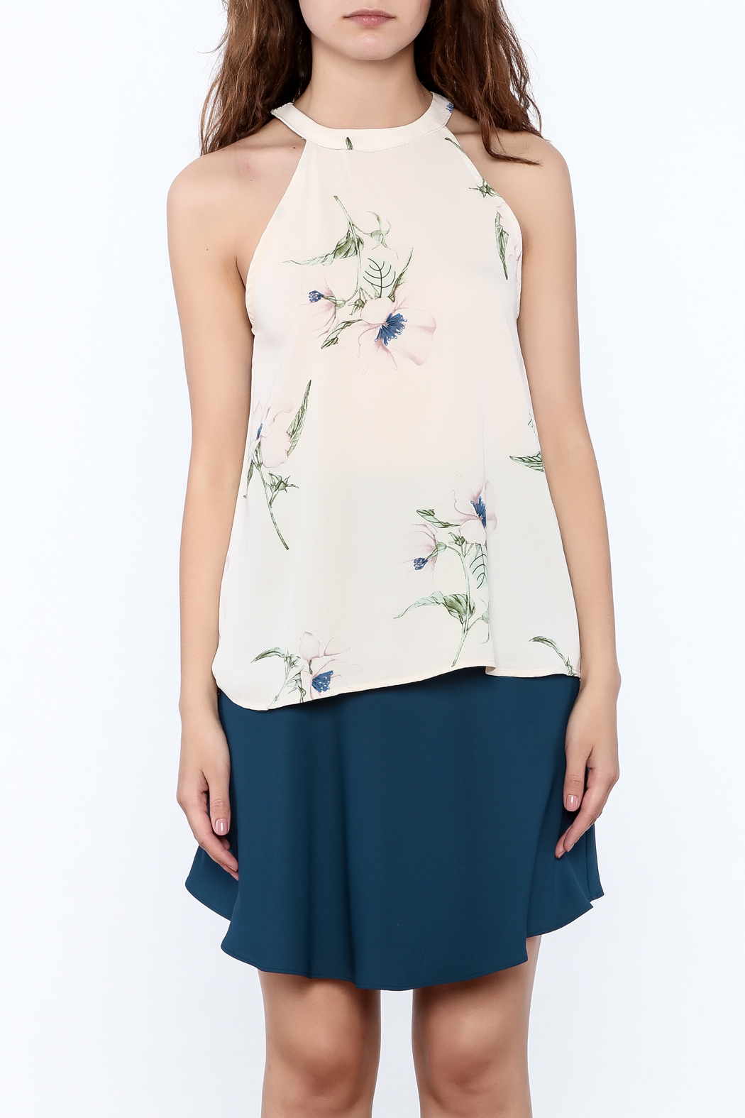 Audrey Beige Floral Printed Top - Side Cropped Image