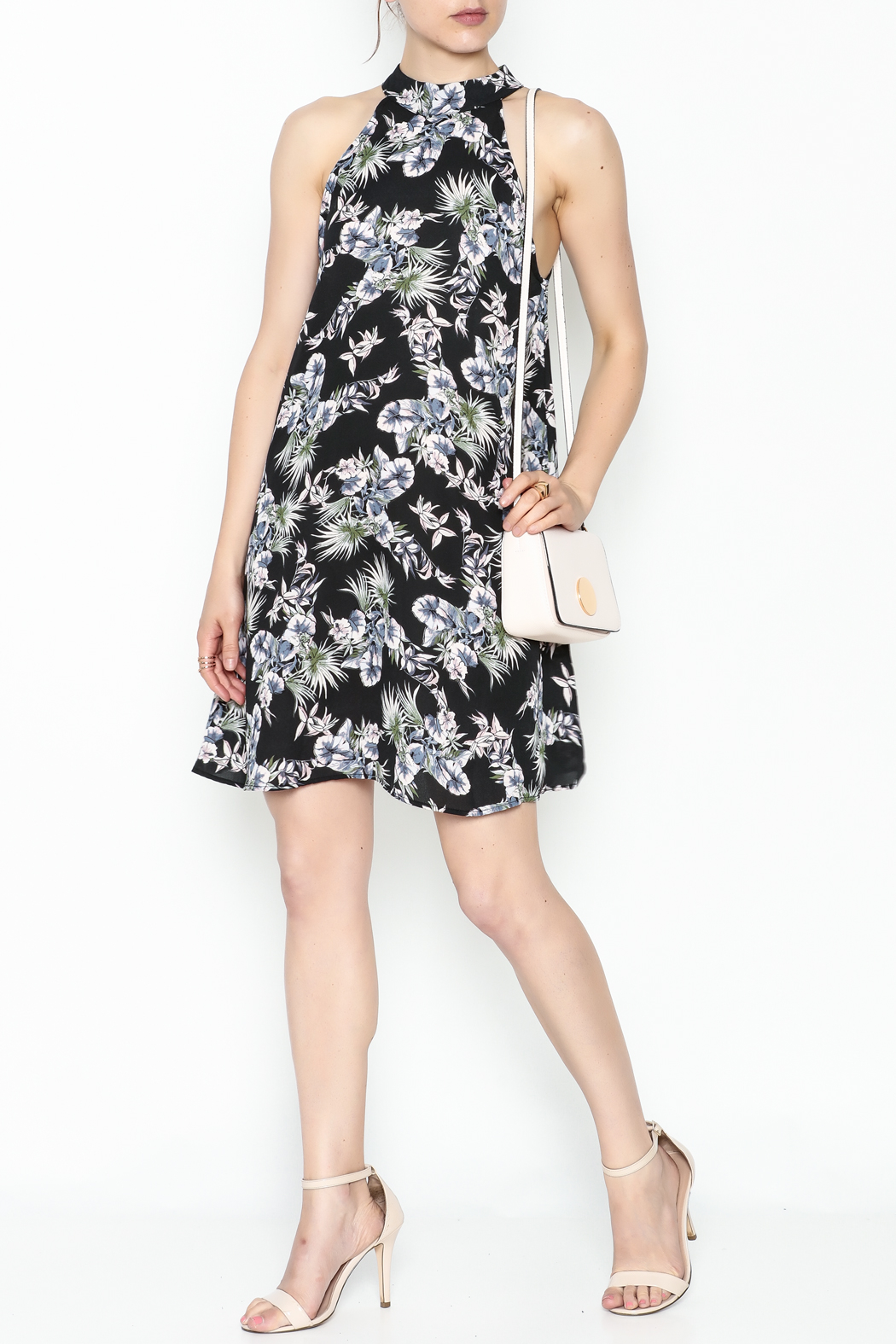 Audrey Floral Flare Dress - Side Cropped Image