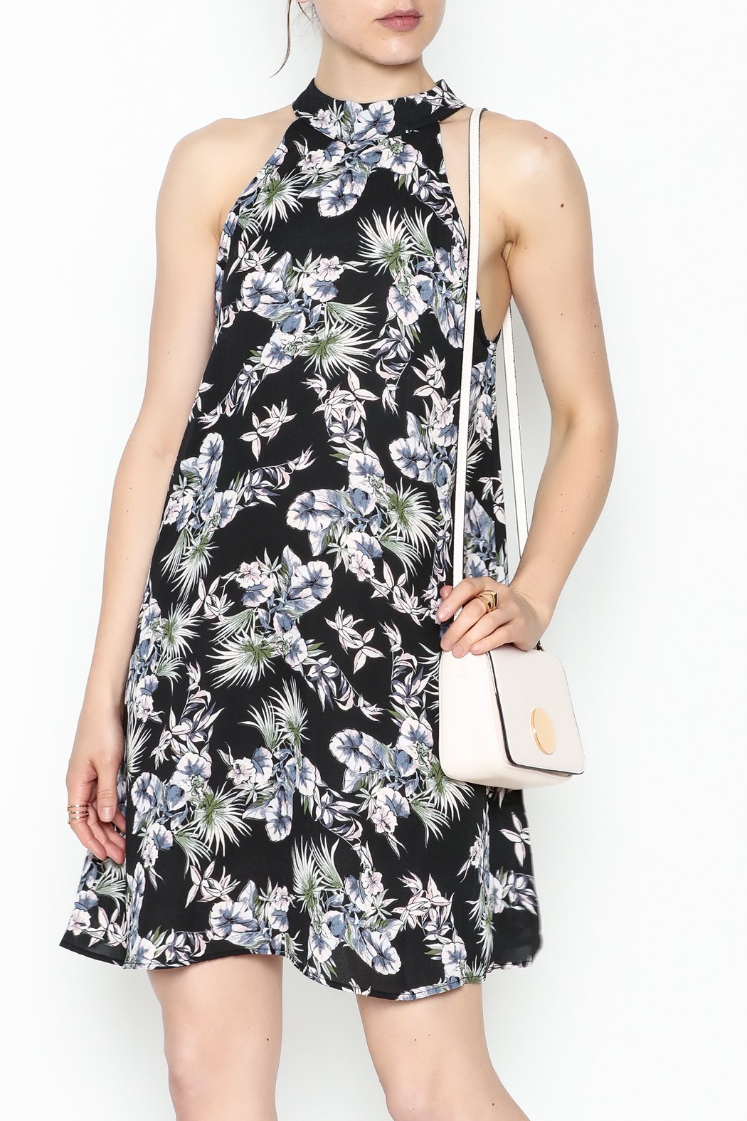 Audrey Floral Flare Dress - Front Cropped Image