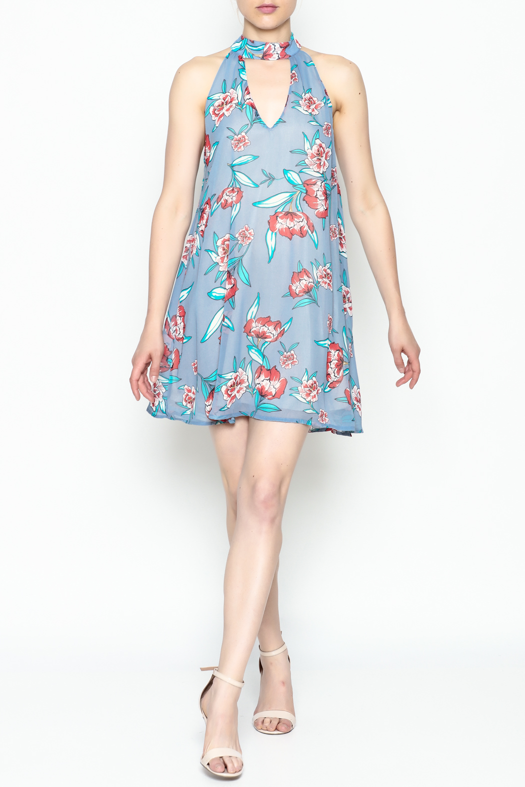 Audrey Floral Print Dress - Side Cropped Image