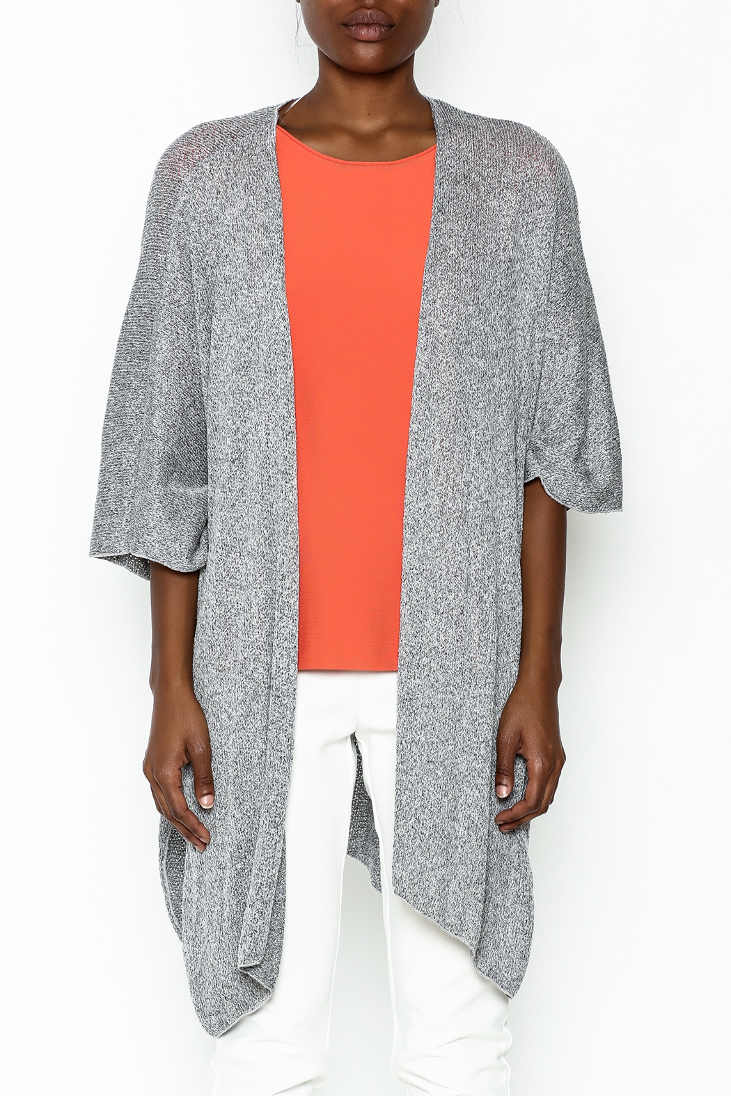 Audrey Grey Knit Cardigan - Front Full Image