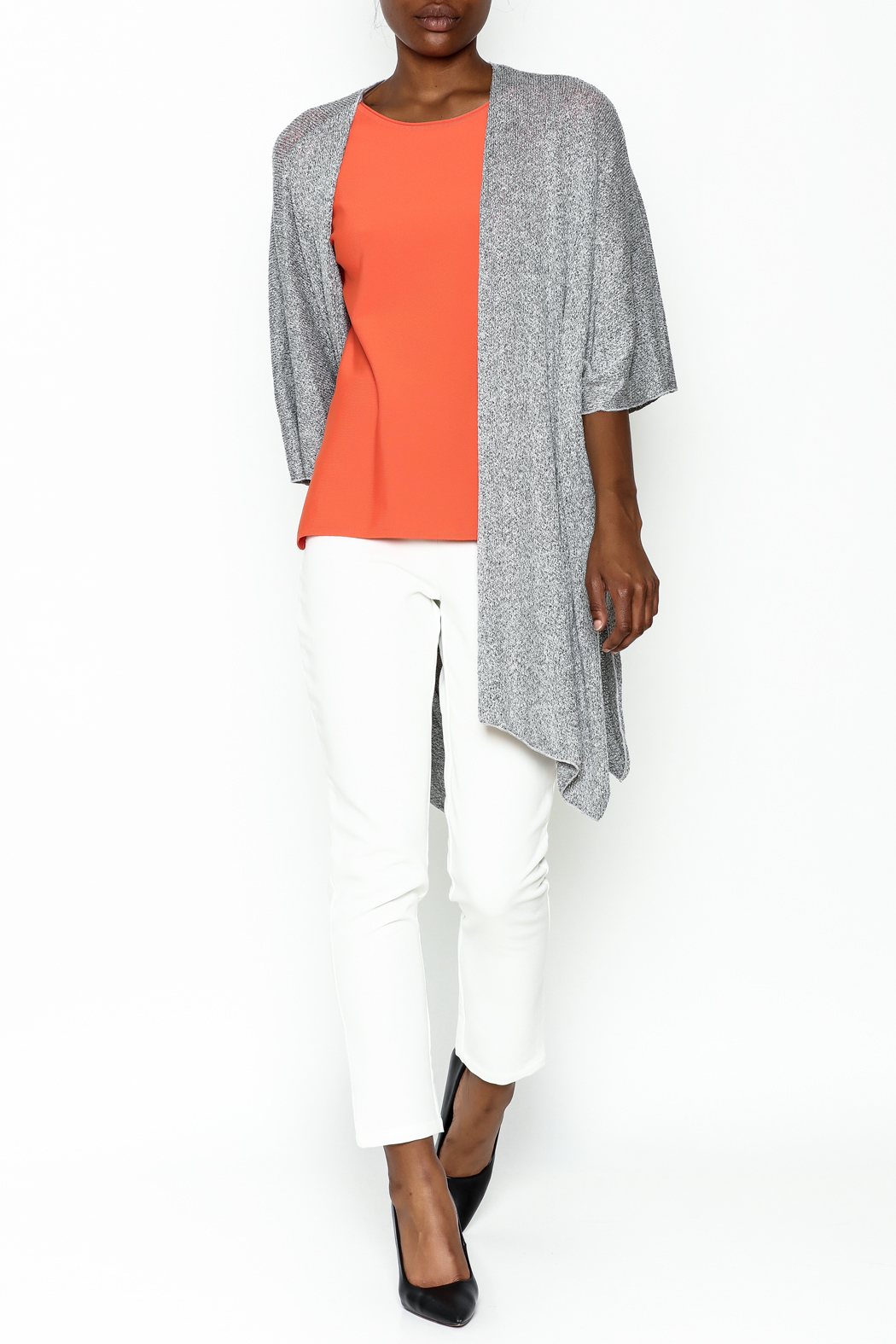 Audrey Grey Knit Cardigan - Side Cropped Image
