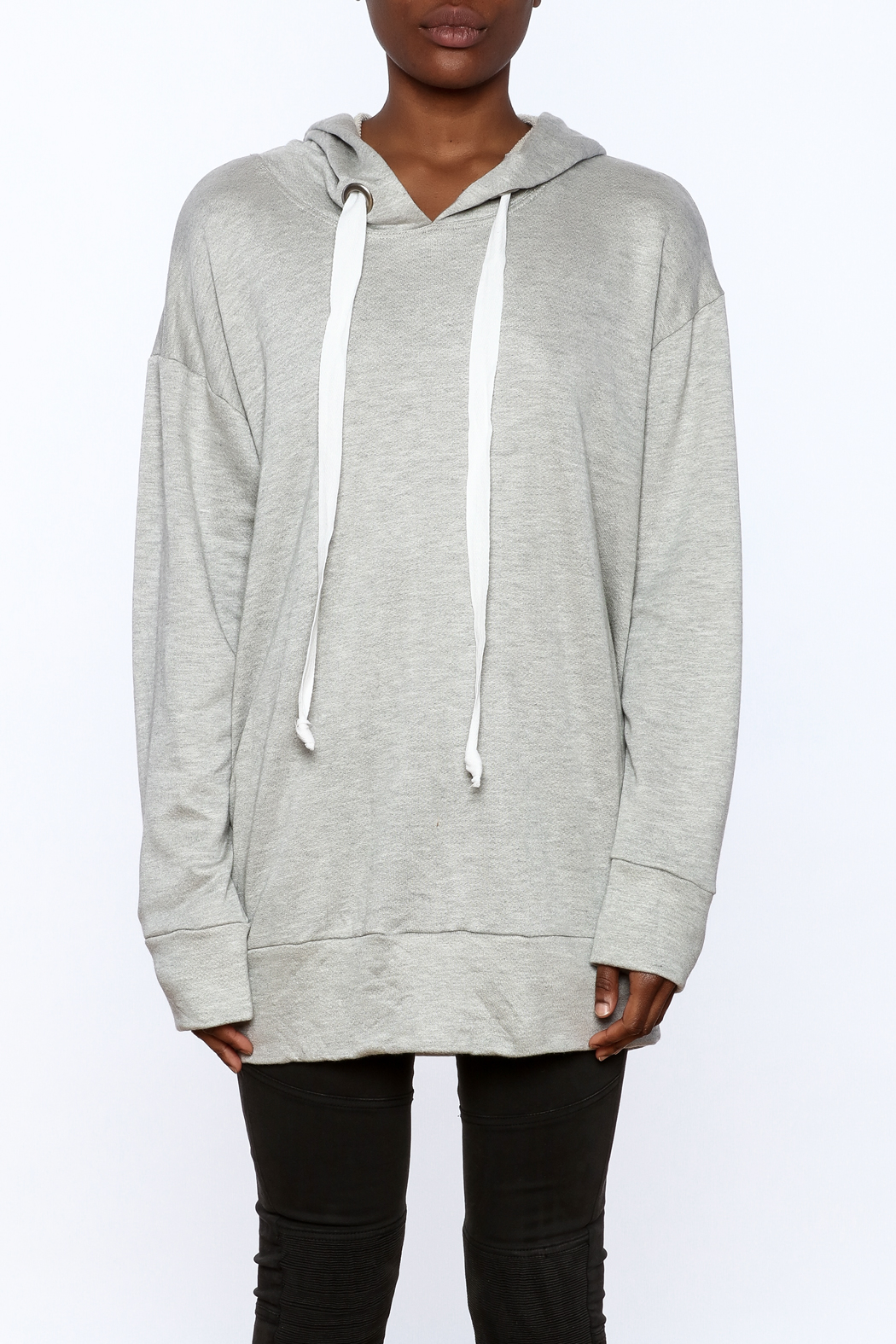 Audrey Grey Hooded Tunic Dress - Side Cropped Image