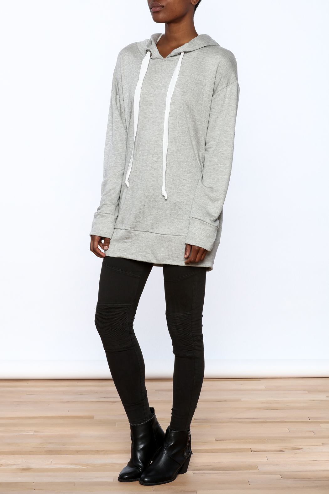 Audrey Grey Hooded Tunic Dress - Front Full Image