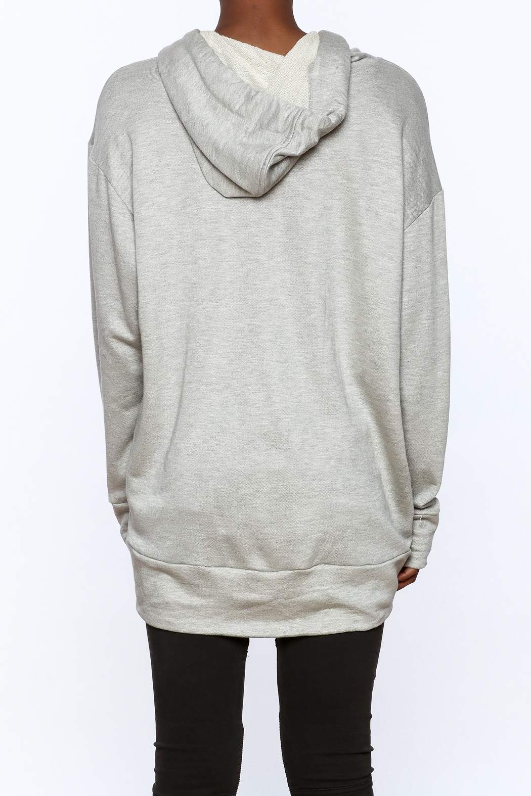 Audrey Grey Hooded Tunic Dress - Back Cropped Image