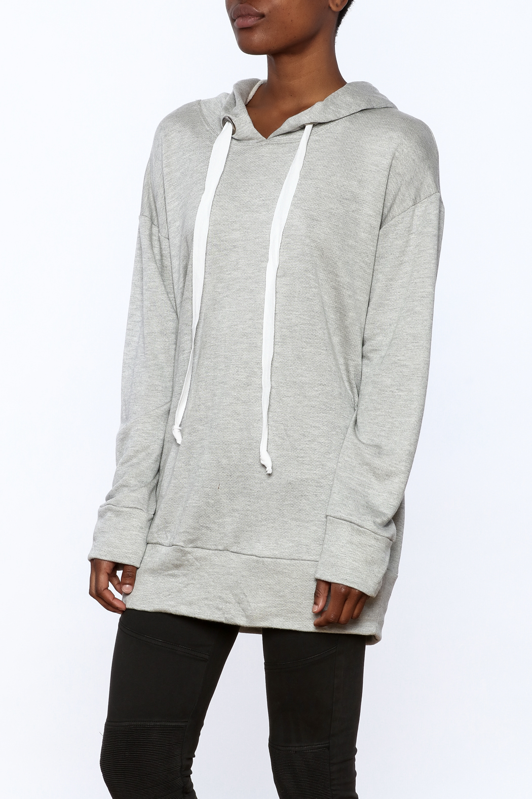 Audrey Grey Hooded Tunic Dress - Main Image