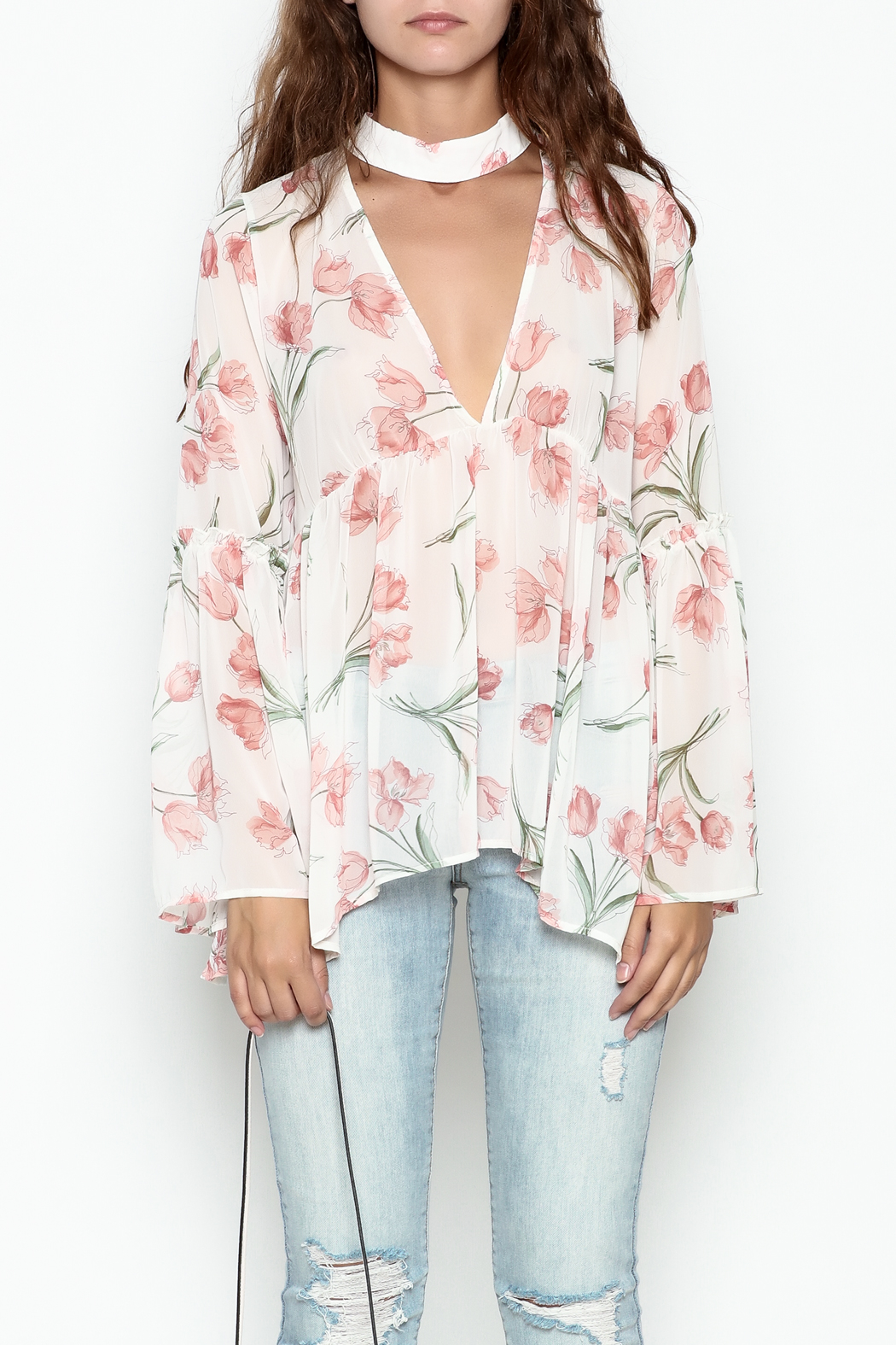 Audrey Sheer Floral Top - Front Full Image