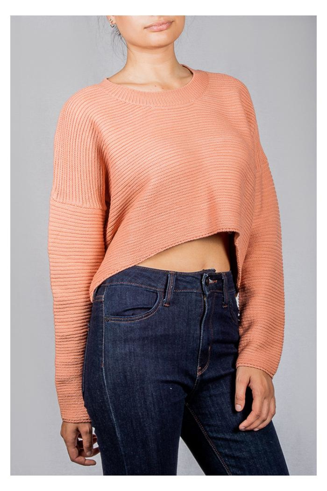 Audrey 3+1 Bubblegum Ribbed Sweater - Side Cropped Image